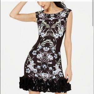 Donna Rico Printed Dramatic Ruffle Hem Dress
